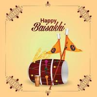 Realistic happy vaisakhi sikh indian festival background vector