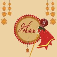 feliz tarjeta de felicitación de ugadi con kalash tradicional y flor de guirnalda vector
