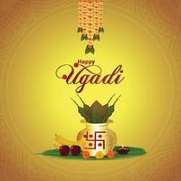 gudi padwa o feliz año nuevo ugadi kannada con golden kalash vector