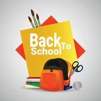 Back to school background with school equipments vector