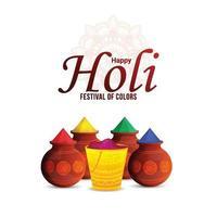 Fondo feliz festival indio holi con olla de barro de color vector