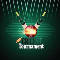 Cricket tournament background with stadium background vector