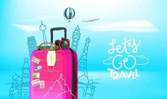 Summer travel concept with baggage, camera, protective mask. Lets go travel vector