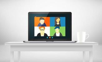 Conference call with business team online via application vector