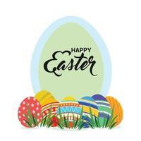 feliz día de pascua con huevos de colores pintados vector
