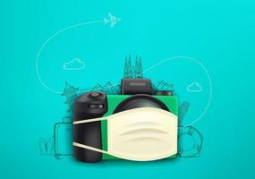 Vacation on pandemic. Concept with digital camera and protection mask vector
