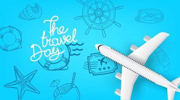 Air travel concept with aircraft and doodle elements vector