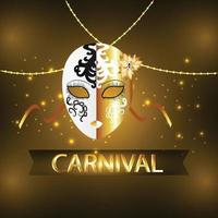 Carnival event card with silver mask vector