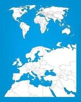 World map infographic template with Europe area selected vector