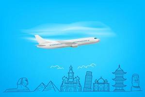 avión volador con lugares famosos de estilo garabatos. concepto de vacaciones vector