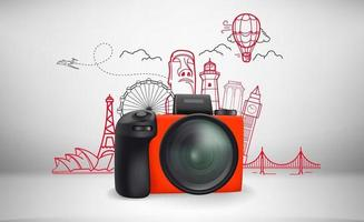 Ilustración de vector de viajes mundiales con monumentos famosos