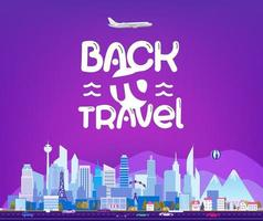 Back to travel. Cityscape with logo vector