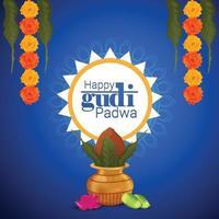 feliz fondo de celebración de gudi padwa con kalash creativo vector