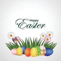 Easter colorful eggs and grass vector