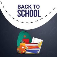 Back to school background with creative bag and books vector