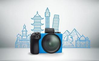 World travel vector illustration with famous monuments
