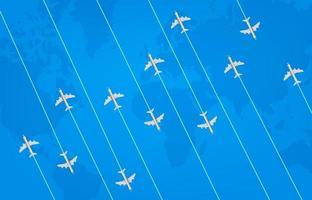 concepto de viaje mundial con aviones modernos. vector