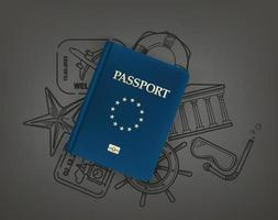 concepto de viaje mundial con pasaporte y elementos de garabatos vector