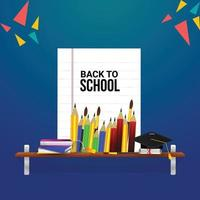 Back to school background with copy paper and school equipment vector