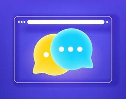 Simple flat browser window with chat clouds. 3d comic style vector illustration