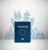 Ilustración de viaje con pasaporte azul. ilustración vectorial con monumentos famosos vector