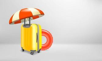 Vacation concept with plastic suitcase and travel accessories vector