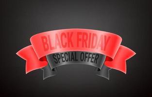 Oferta especial viernes negro. cintas vintage con inscripción vector