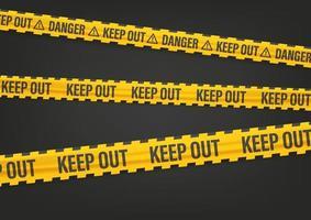 cinta amarilla y negra con inscripción de exclusión