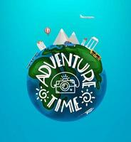 Adventure time concept. Vector travel illustration with different famous sights and vehicles