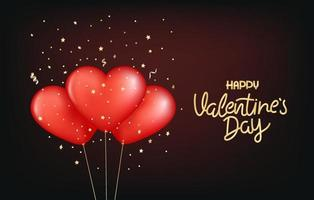 Valentines Day vector illustration. Red balloons with lettering inscription