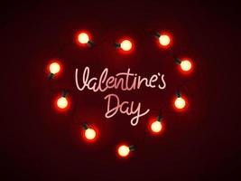 Shining heart and lettering inscription on dark red background. Valentines day banner vector