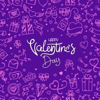 Valentines Day banner with lettering inscription vector