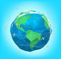Modern aircrafts fly around globe vector illustration