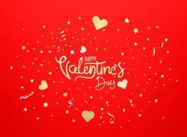 Happy Valentines Day. Greeting banner vector template with confetti