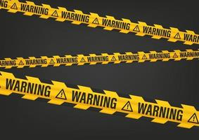 Yellow and black tape with Warning inscription vector
