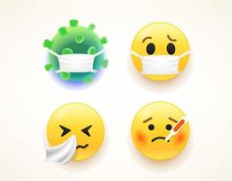Vector emoji set for web and apps. Covid icons