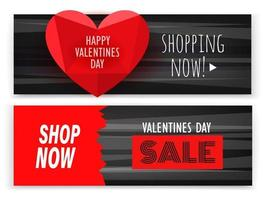 Valentines day sale banners vector set