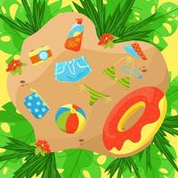 Illustration of a place to relax on the beach and items for summer vacation, vector composition in flat style.