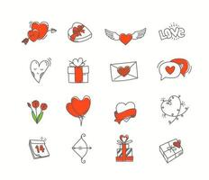 Comic style Valentines Day vector elements. Hand drawn icons set