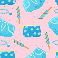 Seamless pattern with cosmetic bag, denim shorts and ice cream, cute girl's print, vector illustration in flat style.