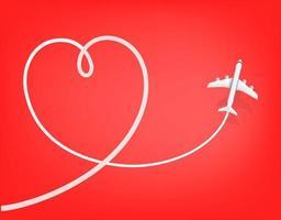 Honeymoon travel destination. Airplane drawing heart sign vector