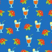 Seamless floral pattern with tropical flowers and cocktails in wine glasses, vector print in flat style, bright summer pattern.