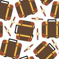 Brown travel case and wristwatch seamless pattern, print with leather suitcase, vector illustration in flat style.