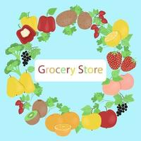 Poster for shop with fresh vegetables and fruits, banner template for products, vector illustration in flat style.
