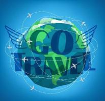 Go travel concept. Vector illustration with the Earth and aircrafts