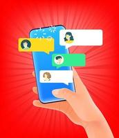 Hand holding modern smartphone viewing people on chat app vector