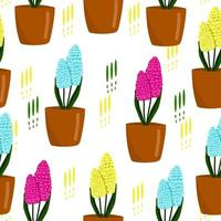 patrón floral transparente con jacintos, lindo estampado de primavera, flores en macetas, ilustración vectorial en estilo de dibujos animados. vector