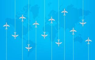 World travel concept with modern aircrafts vector