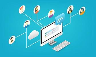 People working together remotely via application. Isometric vector illustration isolated on white background