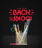 Back to school inscription. School stationery vector